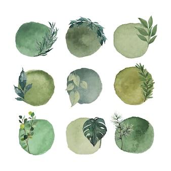 Cerchio astratto verde natura acquerello vintage macchia elementi