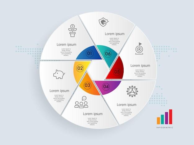 Modello di elemento di presentazione infografica cerchio astratto con icone di affari