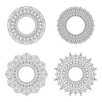 Ornamento del cerchio astratto con il concetto di fiore