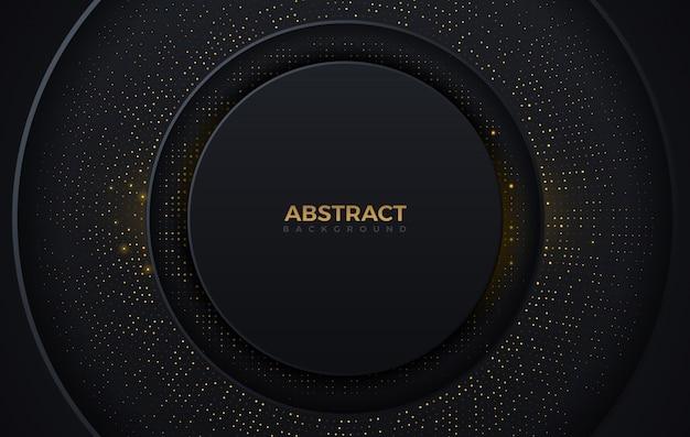 Modello di lusso di progettazione del fondo di colore di punti brillanti scuri e dorati di forma astratta del cerchio