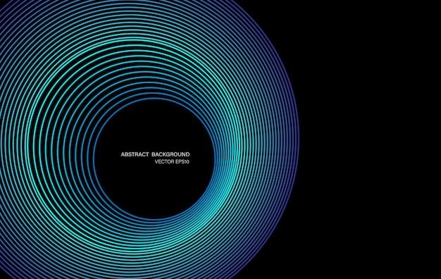 Cerchi astratti linee modello telaio rotondo luce verde blu colorato isolato su sfondo nero. illustrazione di vettore nel concetto digitale, tecnologia.