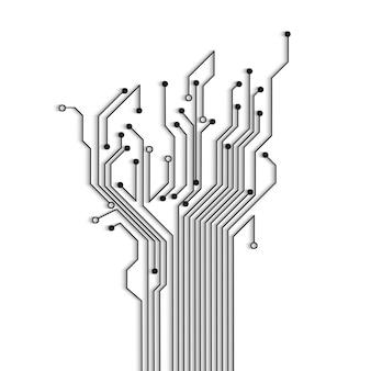 Albero astratto del circuito con ombra