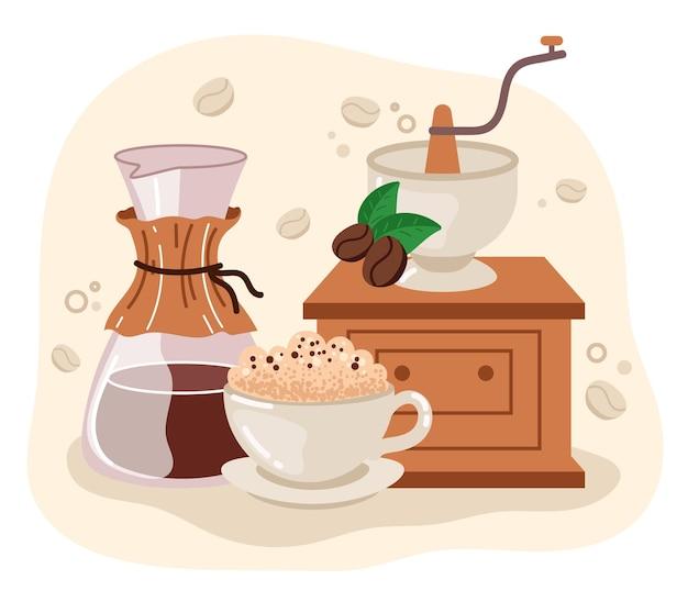 Illustrazione piana di disegno astratto del fumetto del caffè