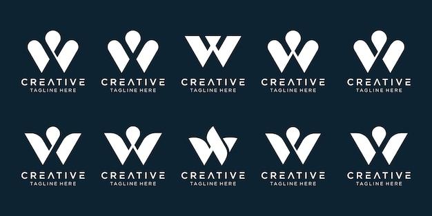 Modello di logo w di iniziali della raccolta astratta.
