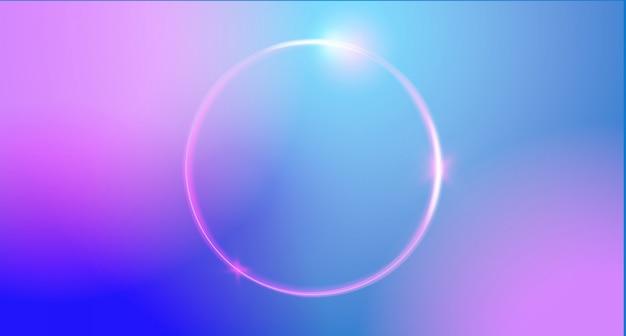 Colore di sfondo astratto alla moda con cornice rotonda al neon