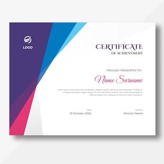 Modello di progettazione del certificato di forme colorate astratte blu viola e rosa