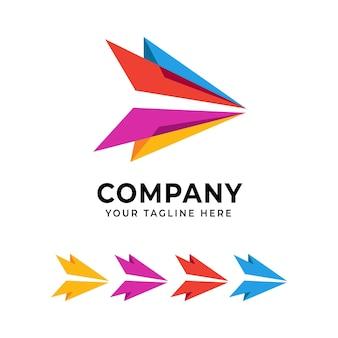 Modello di progettazione del logo astratto freccia colorata