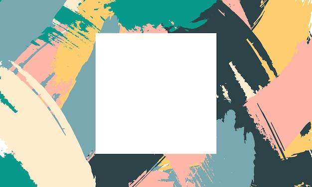 Pennello colorato astratto con spazio quadrato nel mezzo. modello per i tuoi siti web aziendali.