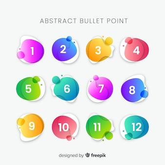 Collezione di punti elenco colorato astratto