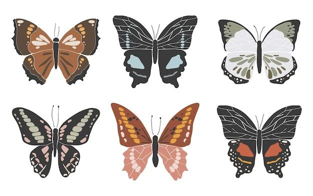 La farfalla variopinta astratta ha impostato la raccolta dell'insetto della molla di boho