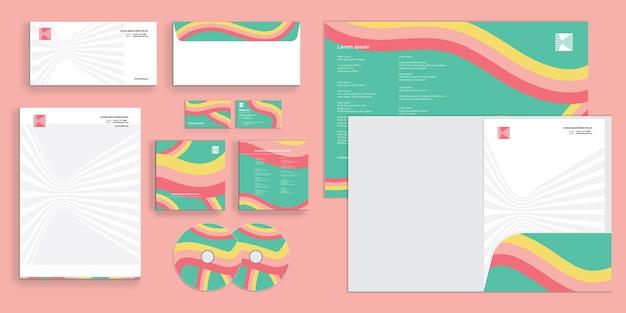 Linee di caramelle colorate astratte identità aziendale moderna stazionaria