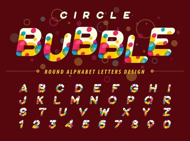 Cerchi colorati astratti all'interno di lettere e numeri di alfabeto