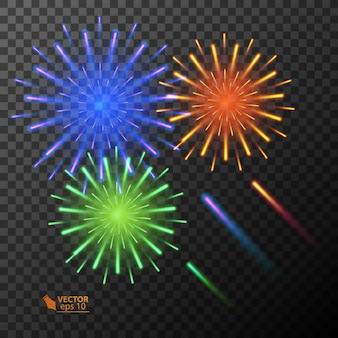 Esplosione di fuochi d'artificio colorati astratti su sfondo trasparente