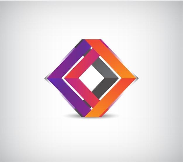 Logo astratto colorato costruzione geometrica per azienda, identità