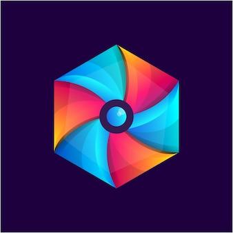 Modello di logo esagonale colorato astratto