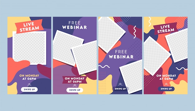 Modello astratto colorato storie instagram o layout di volantino con cornice quadrata vuota in quattro opzioni.