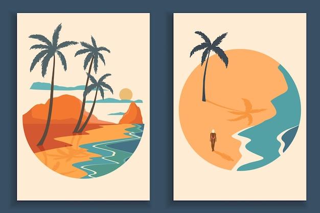 Collezione di poster paesaggio colorato astratto. set di modelli di stampa spiaggia di arte contemporanea.