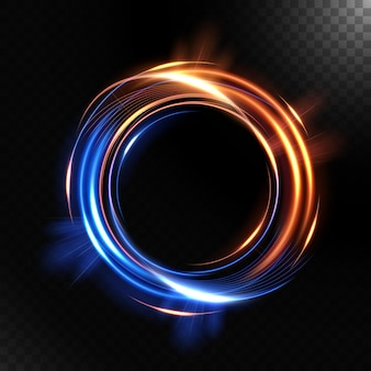 Vorticoso luminoso colorato astratto, isolato su sfondo scuro.