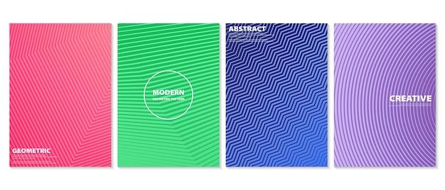 Insieme di disegno di copertine minime colorate astratte. mezzitoni in gradiente