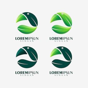 Astratto colorato pellicano foglia logo design