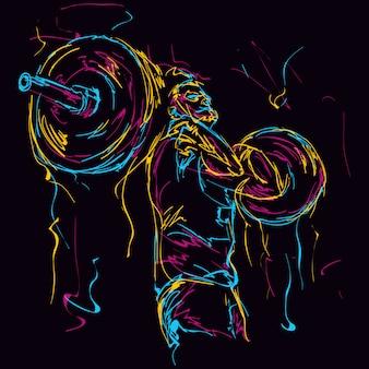 Powerlifting colorato astratto uomo forte