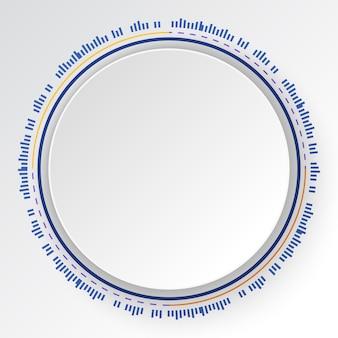 Fondo variopinto astratto di tecnologia, insegna bianca del cerchio sul cerchio digitale variopinto