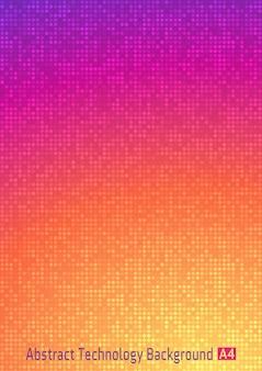 Fondo di pendenza digitale del pixel del cerchio di tecnologia variopinta astratta. sfondo luminoso modello aziendale con pixel rotondi.