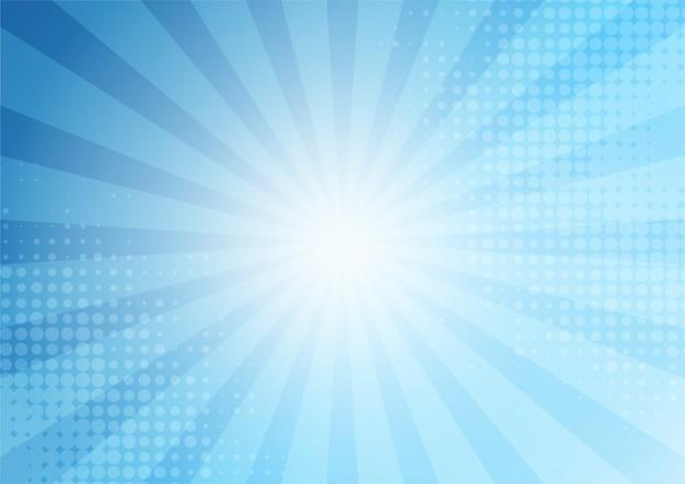 Comico astratto sfondo blu in stile cartone animato. luce del sole.