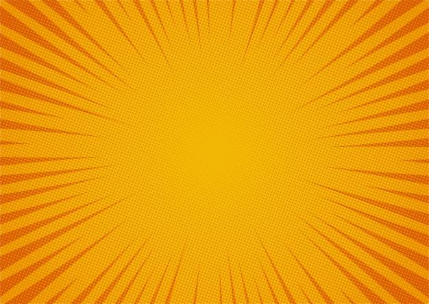 Fondo giallo comico astratto stile del fumetto. luce del sole.