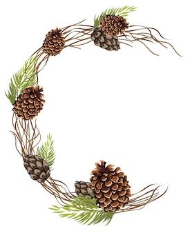Composizione astratta di un semicerchio di foglie e ramoscelli di pigne