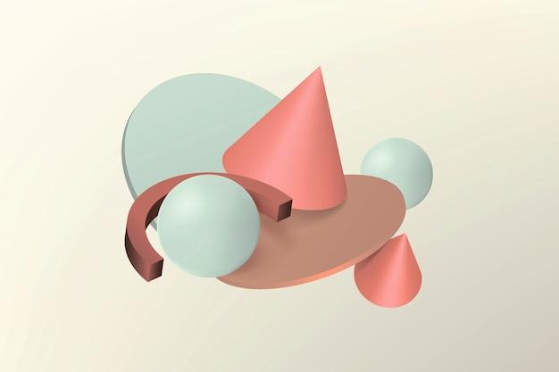 Composizione astratta di forme geometriche realistiche volumetriche in volo sullo sfondo. palline, coni, cubi in colori pastello.