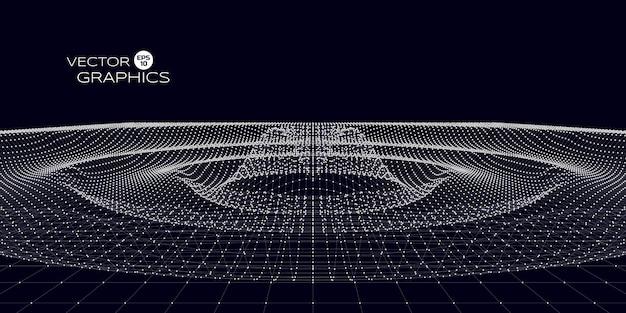 Concept design astratto dell'ondulazione dello spazio. illustrazione vettoriale per scienza, design tecnologico.
