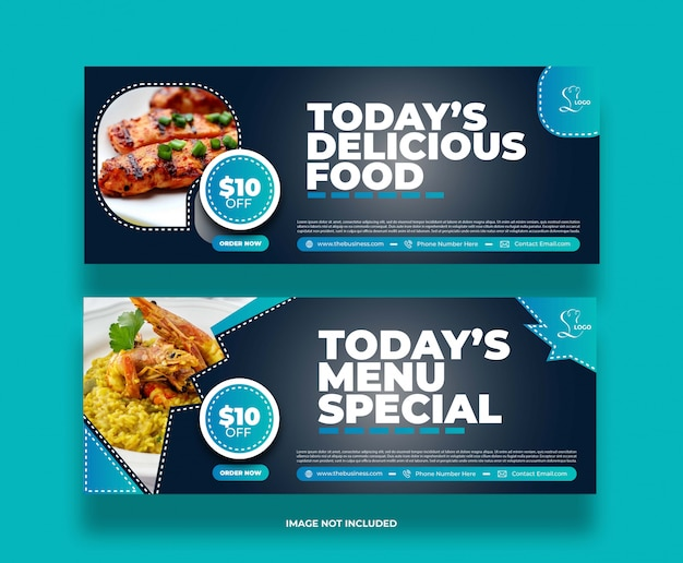 Banner di promozione post social media ristorante cibo astratto concetto