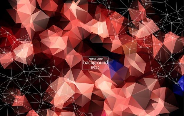 Punti collegati astratti su sfondo rosso brillante