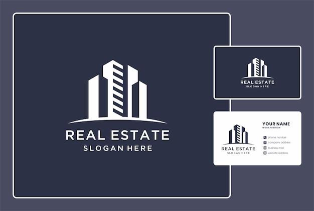 Logo di costruzione astratta e design del biglietto da visita.