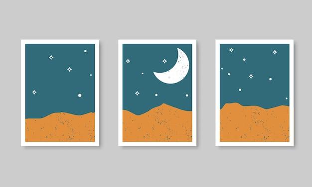 Fondo estetico contemporaneo astratto con paesaggio, deserto, dune di sabbia, luna crescente.