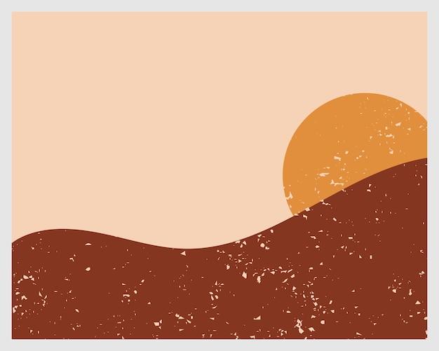 Fondo estetico contemporaneo astratto con paesaggio, deserto, sole.