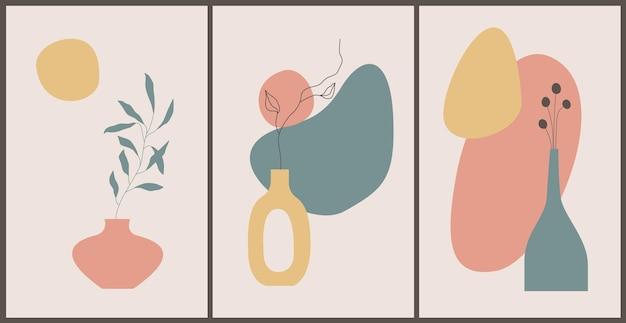 Fondo contemporaneo astratto con forme naturali, foglie, vasi. stampa d'arte minimalista in stile boho