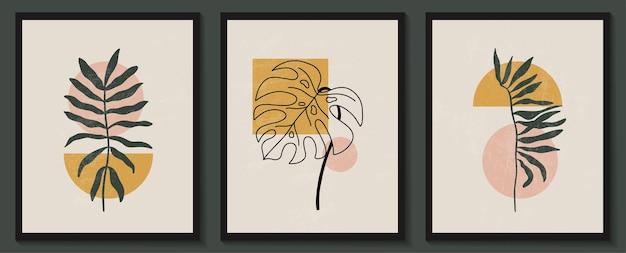 Forme geometriche e fiori contemporanei astratti in uno stile alla moda moderno