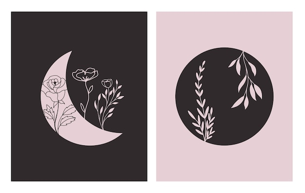 Forme geometriche contemporanee astratte e fiore in luna uno stile moderno alla moda