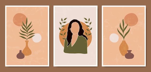 Collezione di modelli di poster boho ritratti di volti moderni contemporanei astratti di metà secolo.