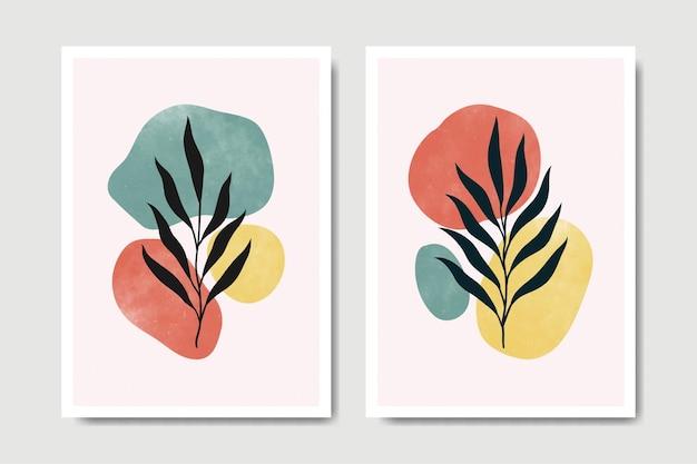 Collezione di modelli di poster boho foglie floreali moderne contemporanee astratte della metà del secolo.
