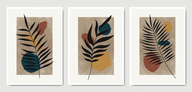 Manifesto floreale moderno astratto di boho delle foglie di metà del secolo contemporaneo
