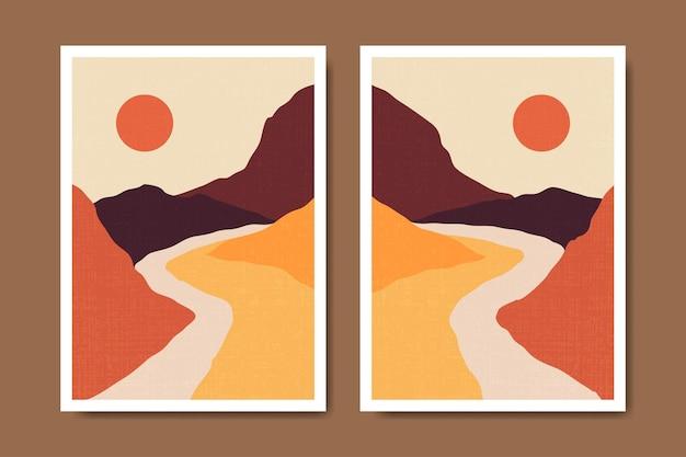 Manifesto di boho paesaggio moderno astratto metà secolo contemporaneo
