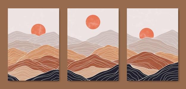 Abstract contemporary metà del secolo moderno paesaggio linee boho copertina frale.