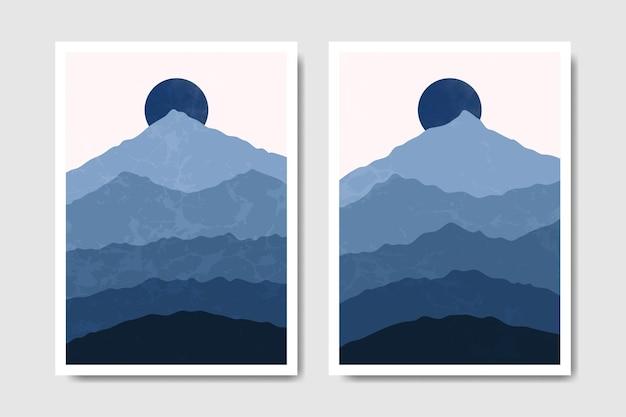 Manifesto di boho paesaggio invernale moderno astratto metà secolo contemporaneo