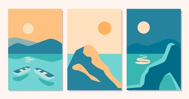 Insieme contemporaneo astratto di paesaggi di sfondi estetici con alba, tramonto, notte, mare, barca con colori di terracotta. illustrazione piana di vettore. modelli di stampa d'arte contemporanea, decorazioni da parete boho