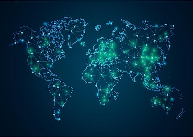 Il punto astratto di coronavirus o covid-19 scala lo sfondo con la mappa del mondo