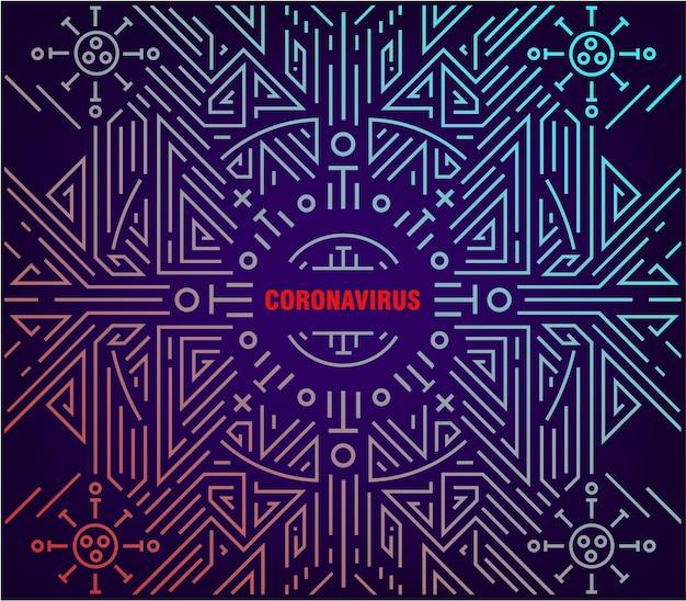 Illustrazione lineare astratta del coronavirus