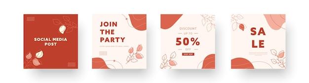Collezioni di sfondi creativi astratti. set di modelli di design alla moda minimal instagram per storie di social media aziendali con elementi carini. illustrazione vettoriale